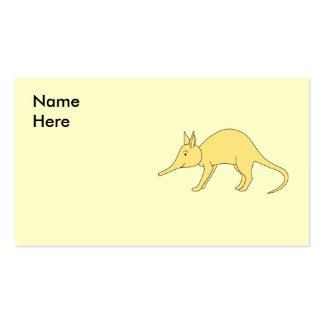 Aardvark amarillo. Animal lindo del dibujo animado Plantillas De Tarjetas Personales