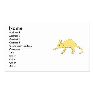 Aardvark amarillo. Animal lindo del dibujo animado Tarjeta De Negocio