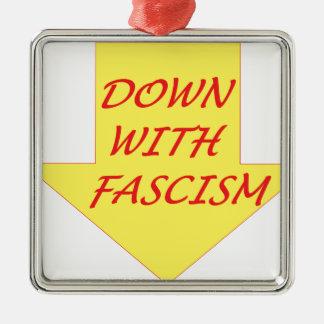 Abajo con fascismo adorno navideño cuadrado de metal