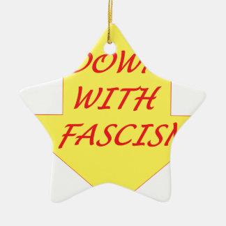Abajo con fascismo adorno navideño de cerámica en forma de estrella