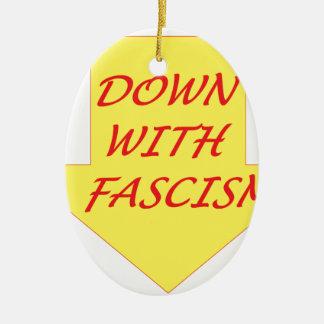 Abajo con fascismo adorno navideño ovalado de cerámica