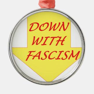 Abajo con fascismo adorno navideño redondo de metal