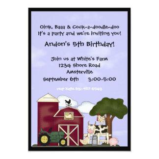 Abajo en la invitación de la granja invitación 12,7 x 17,8 cm