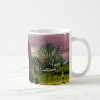 Abajo en la taza de café de la granja