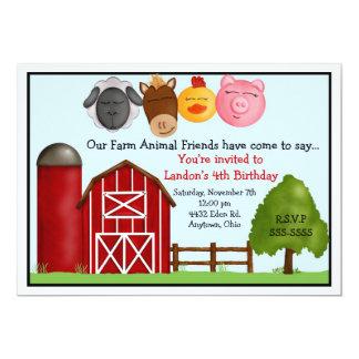 Abajo en las invitaciones de la granja invitación 12,7 x 17,8 cm