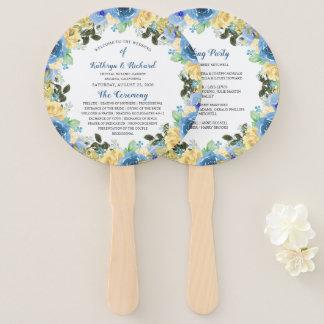 Abanico Fan amarilla azul de la mano del programa del boda