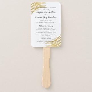 Abanico Fan de oro del programa del boda del destino del