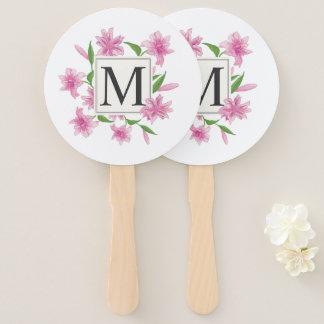 Abanico Fan floral elegante de la mano del monograma el  