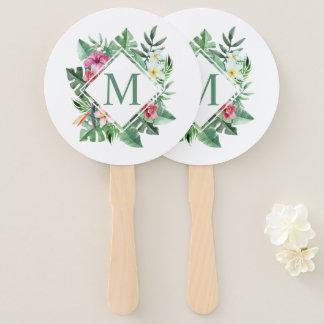 Abanico Fan floral tropical de la mano del monograma el  