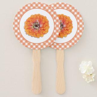 Abanico Fans de la mano - Zinnia y enrejado anaranjados