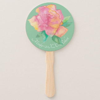 """Abanico Forma: Fan """"flor de la mano redonda del rosa """""""