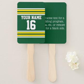 Abanico Nombre amarillo del número del jersey de equipo de