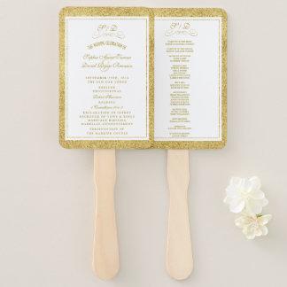 Abanico Oro elegante y programa blanco del boda de la