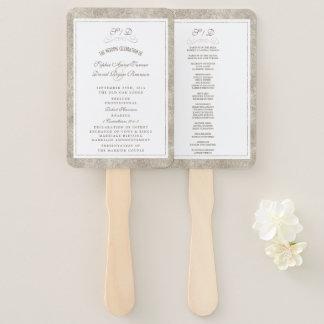Abanico Plata elegante y programa blanco del boda de la