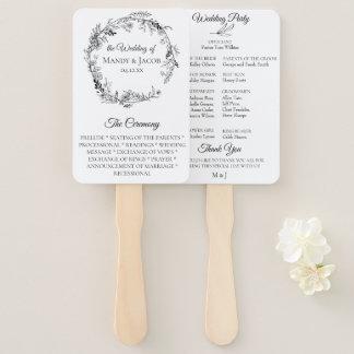 Abanico Programa floral botánico elegante del boda de la
