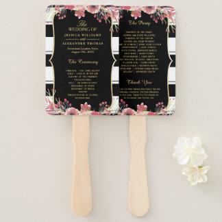 Abanico Programa floral del boda de la acuarela de las