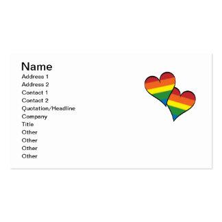 Abarcamiento de los corazones del arco iris tarjetas de visita