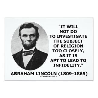 Abe Lincoln no hacer para investigar cita de la Invitación 12,7 X 17,8 Cm