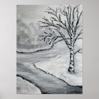 Abedul del invierno en blanco y negro póster