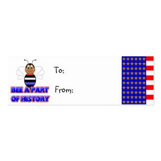 Abeja a la parte de la etiqueta del regalo de la h tarjetas de visita