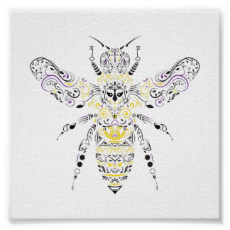 abeja adornada de la miel póster
