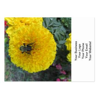 Abeja amarilla de la flor de la maravilla del tarjetas de visita grandes