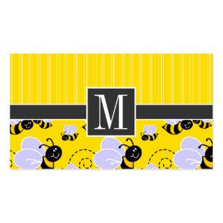 Abeja amarilla y negra elegante tarjetas de visita