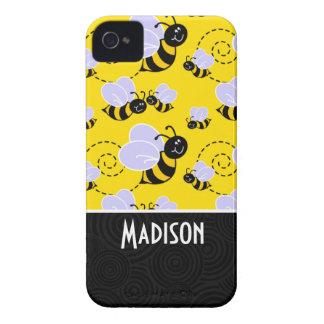 Abeja amarilla y negra linda iPhone 4 Case-Mate carcasa