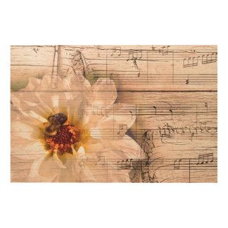 Abeja con la flor y el collage de las notas impresión en madera