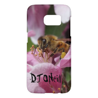 Abeja de la miel de Angery en el flor rosado de Funda Samsung Galaxy S7