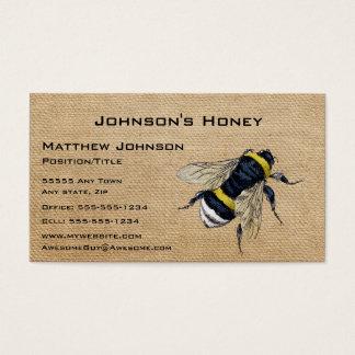 Abeja de la miel de la arpillera tarjeta de visita
