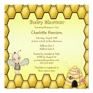 Abeja del bebé, colmena y fiesta de bienvenida al invitación 13,3 cm x 13,3cm