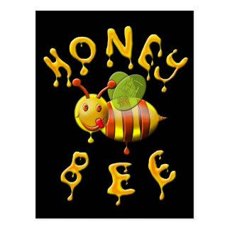 abeja dulce de la miel postal