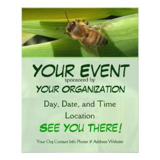 Abeja en el aviador del acontecimiento de la flor  tarjeta publicitaria