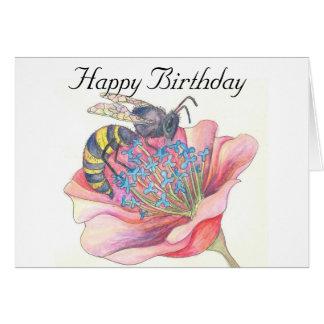 abeja en tarjeta de cumpleaños rosada de la flor