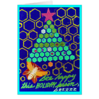 Abeja feliz estas vacaciones tarjeta de felicitación