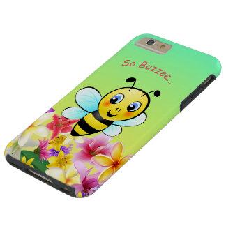 Abeja linda con las flores coloridas funda resistente iPhone 6 plus