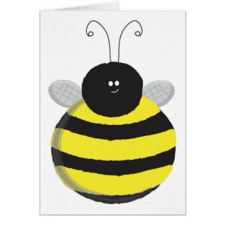 Abeja linda rechoncha feliz de la abeja felicitación