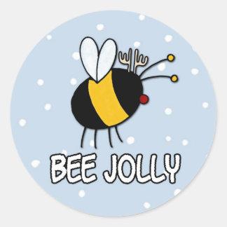abeja muy pegatina redonda