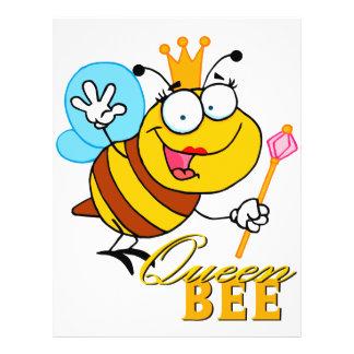 abeja reina divertida del dibujo animado con el te flyer personalizado