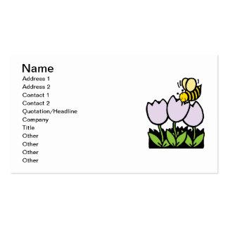 Abeja y flores tarjetas de visita
