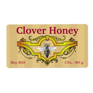 Abeja y tarro personalizado trébol de la miel etiquetas de envío
