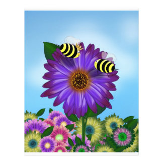 Abejas de la miel del dibujo animado que se encuen folleto 21,6 x 28 cm