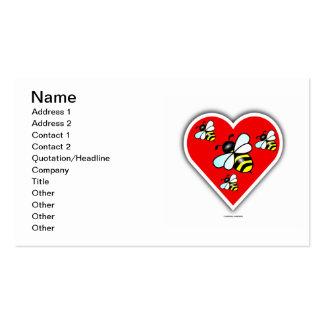 Abejas del amor (cuatro abejas dentro del corazón tarjetas de visita