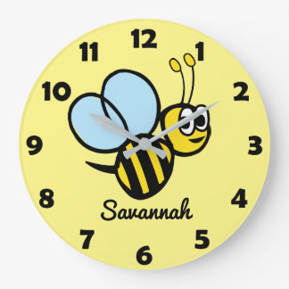 Abejorro lindo personalizado del amarillo de la reloj redondo grande