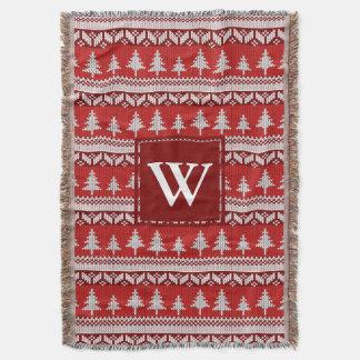 Abetos alpinos nórdicos rojos y blancos del manta tejida