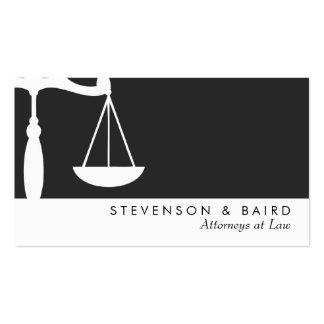 Abogado de la escala de la justicia blanco y negro tarjeta de visita
