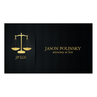 Abogado elegante del negro y del oro en la ley tarjetas de negocios