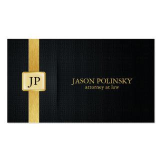 Abogado elegante del negro y del oro en la ley tarjeta de visita