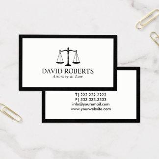 Abogado en el abogado enmarcado negro mínimo de la tarjeta de visita